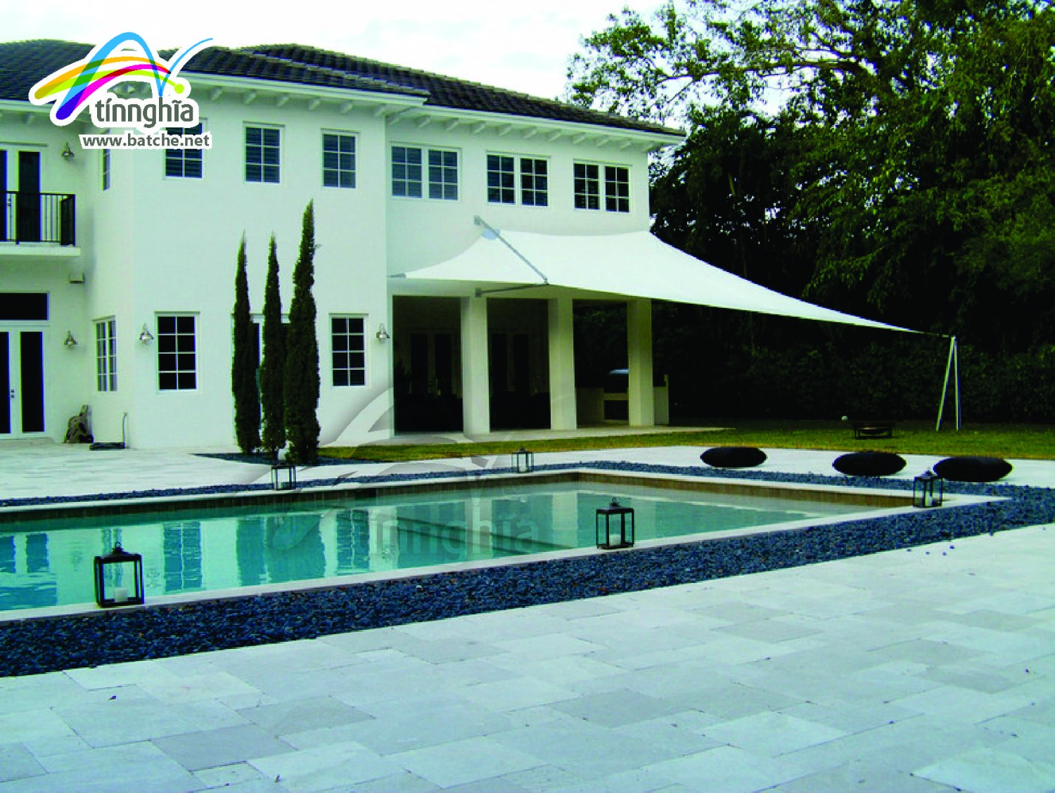 Shade Sails for Villa's Swimming Pool