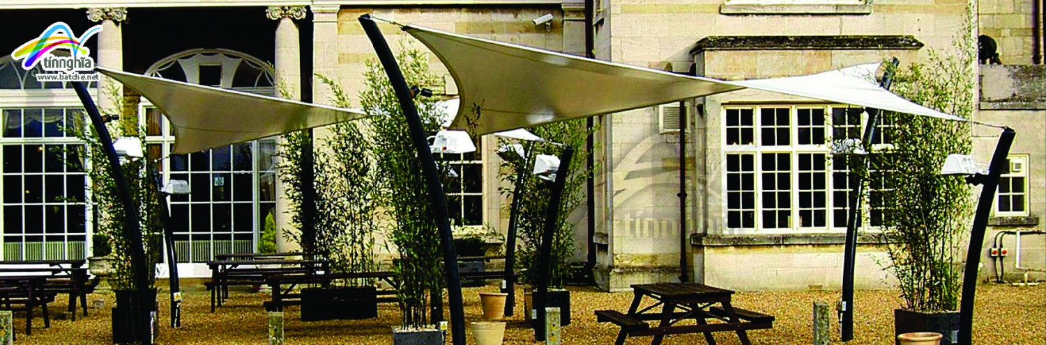 Shade Sails for Stone Bench